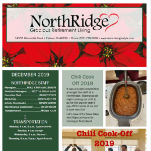 December Northridge Gracious Retirement Living newsletter