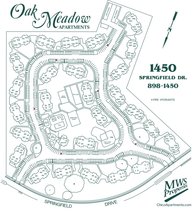 Oak Meadow Apartments site map in Chico, California