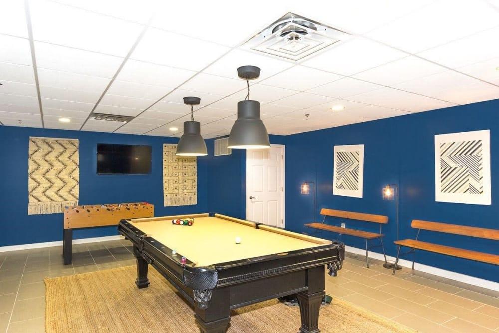 Billiards table at Chestnut Hill Tower in Philadelphia, Pennsylvania