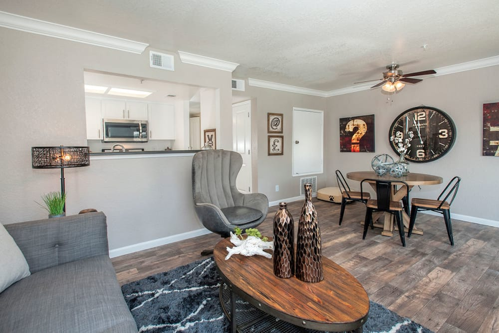 Living room and kitchen at Sandpiper Village Apartment Homes in Vacaville, California