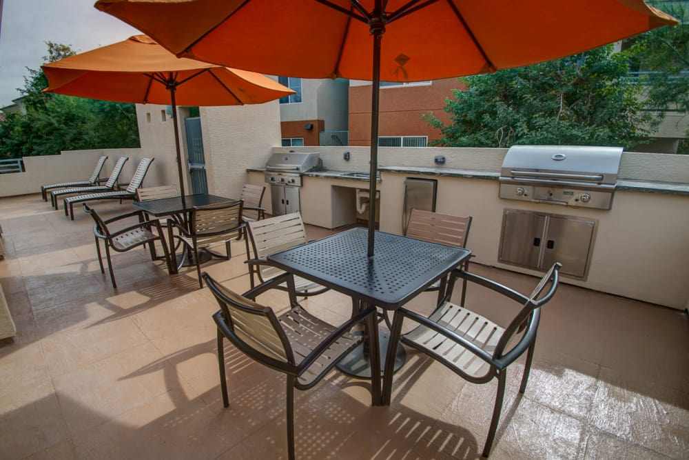 Patio seating at Sage Luxury Apartment Homes in Phoenix, Arizona