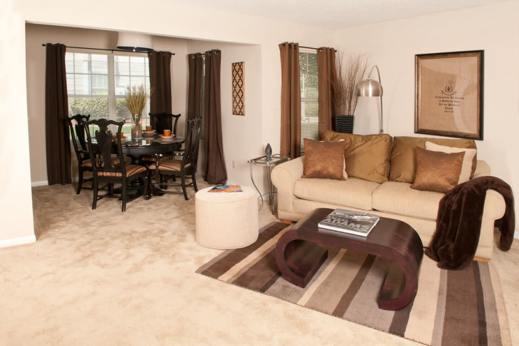 Enjoy a spacious living room and dining area at Spring Meadow