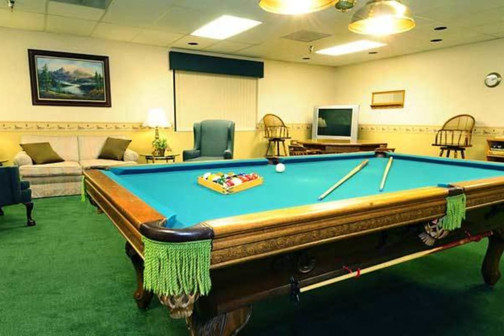 Pool table in the game room at River Commons Senior Living in Redding, California