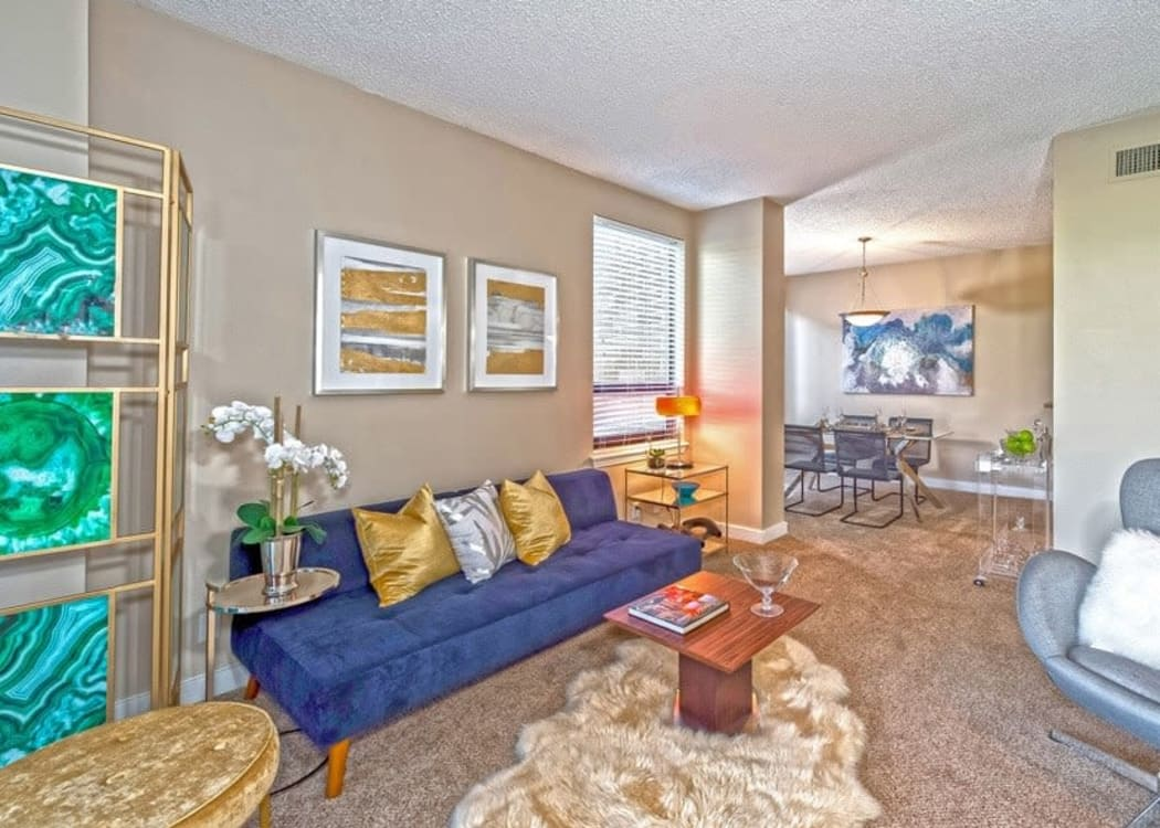 Spacious living room at The Enclave at 1550 Apartments in San Antonio, Texas