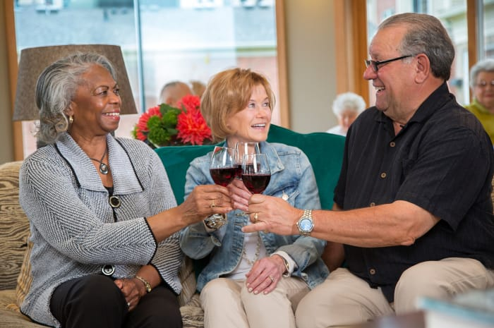 Residents enjoying beverages at All Seasons of Rochester Hills in Rochester Hills, Michigan