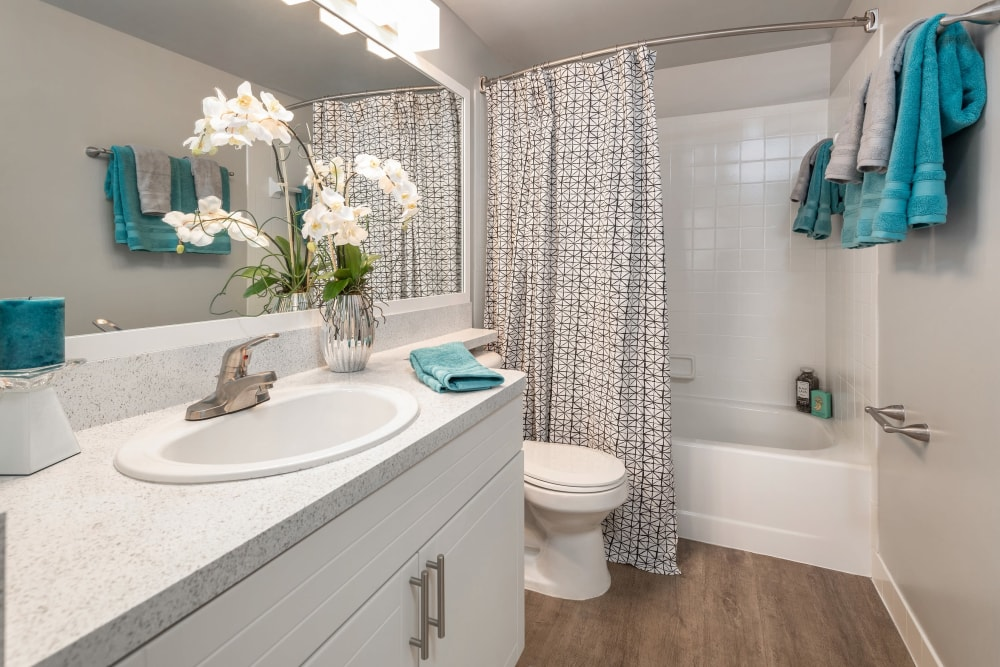 Bathroom with oval tub at The EnV in Hollywood, Florida