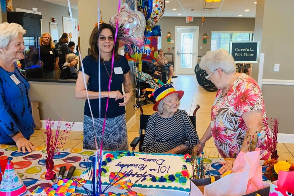 Birthday celebrations for a resident at Inspired Living Ivy Ridge in St Petersburg, Florida.