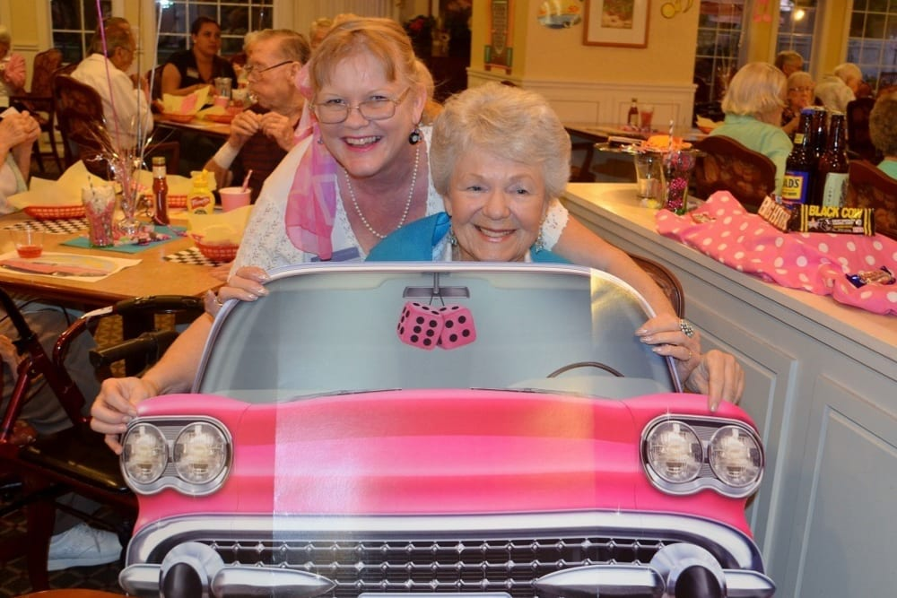 Residents Enjoying the Sock Hop Party at Merrill Gardens at Santa Maria in Santa Maria, California.