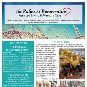 August Palms at Bonaventure Assisted Living newsletter