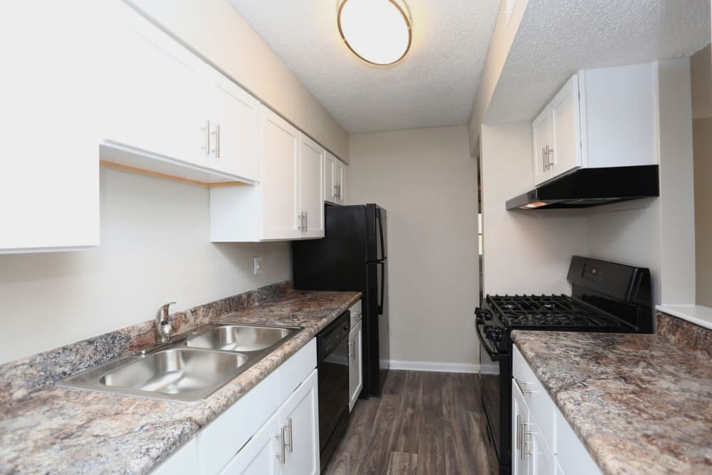 Kitchen with a double stainless-steel sink at Laurel Pines Apartments in Richmond, Virginia