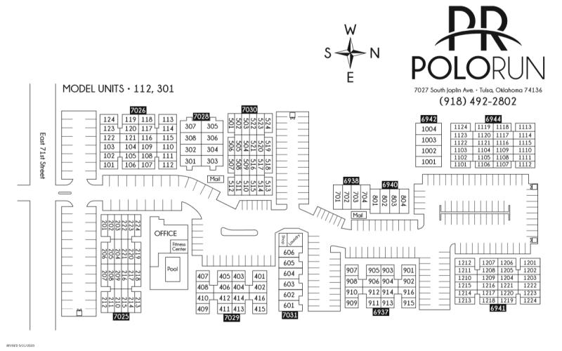 Site map for Polo Run Apartments in Tulsa, Oklahoma