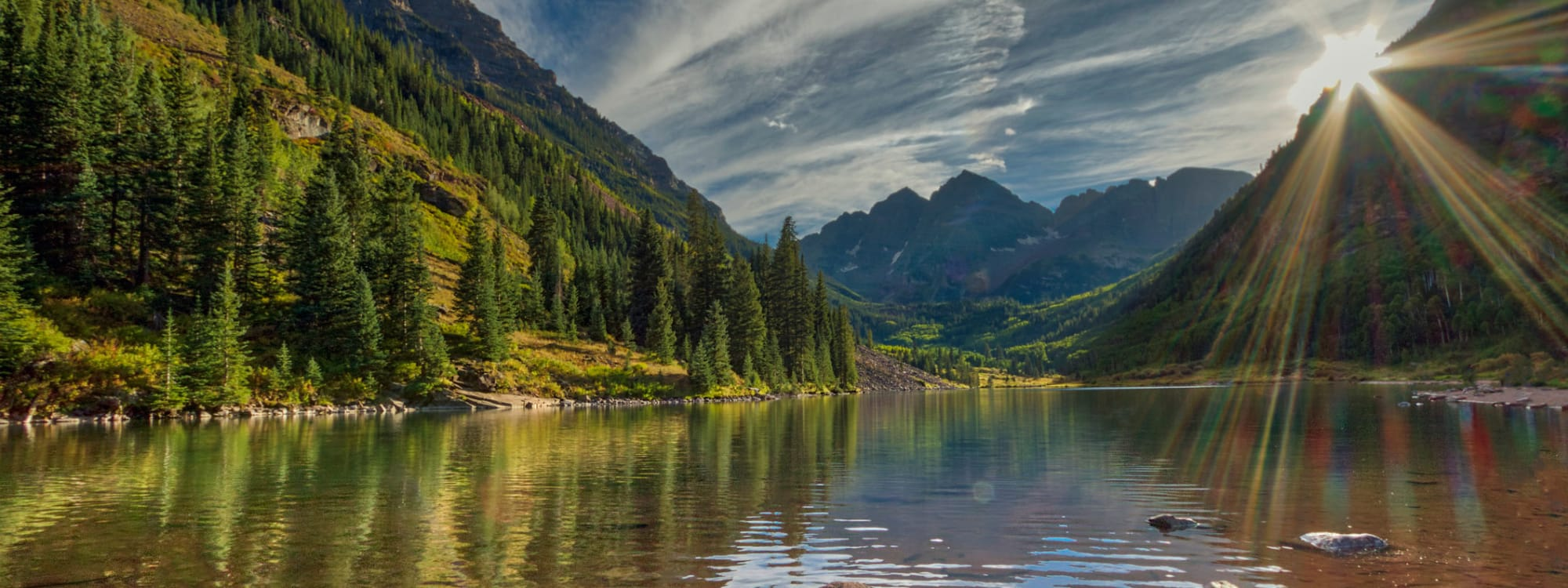 A panoramic view of Maroon Bells near STOR-N-LOCK Self Storage in Henderson, Colorado