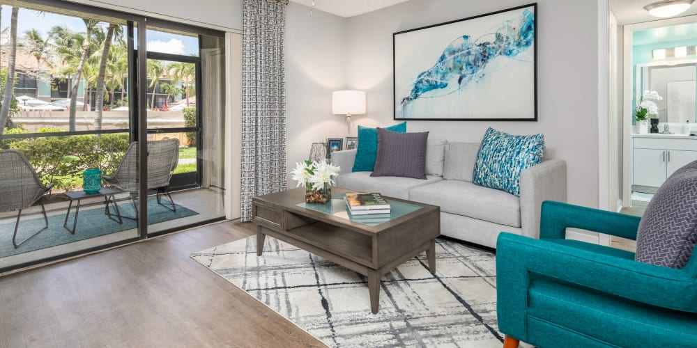 Access to your private patio from living room at The EnV in Hollywood, Florida