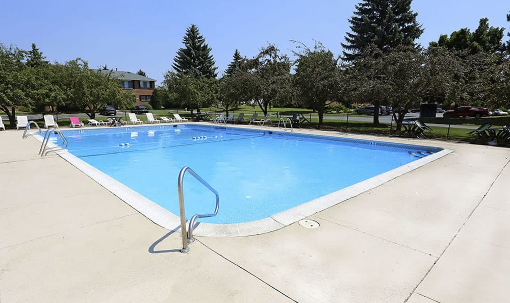Sparkling pool at Waverlywood Apartments & Townhomes in Webster, New York