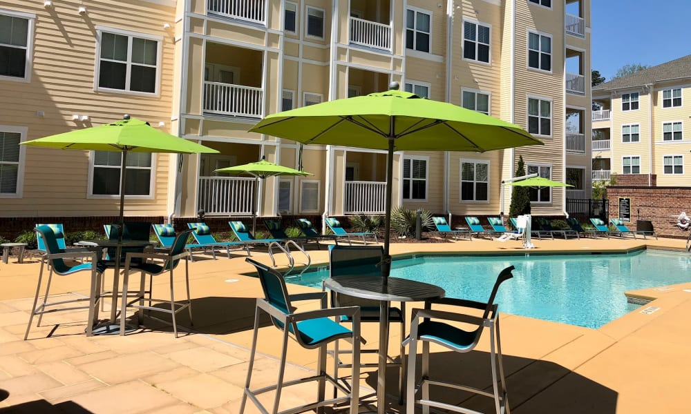 Umbrella chairs poolside at Level at 401 in Raleigh, North Carolina