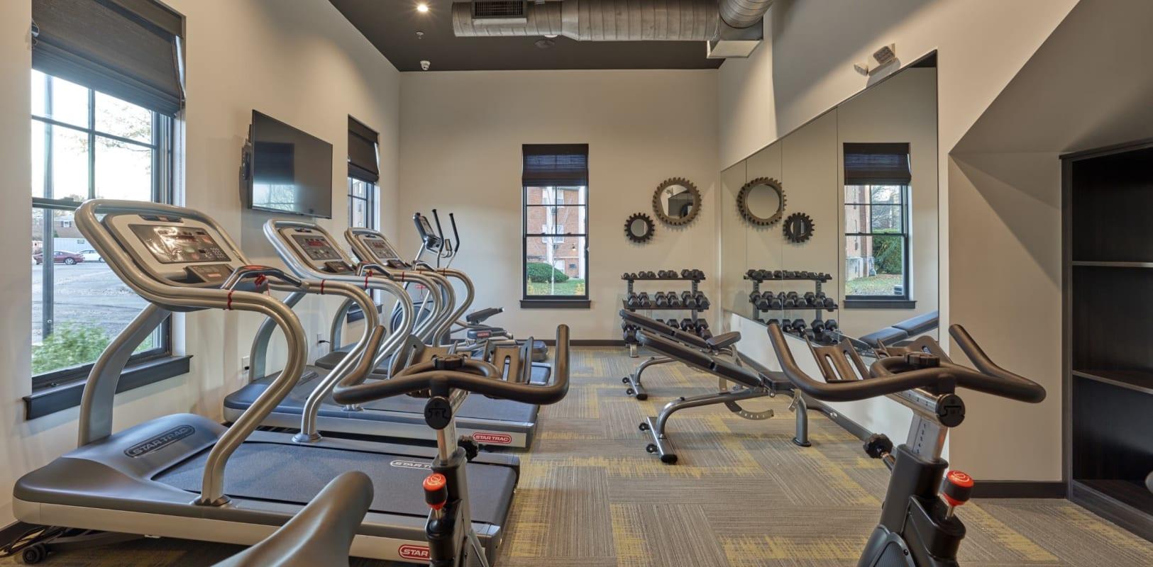 An onsite gym at The Mills at Lehigh in Bethlehem, Pennsylvania