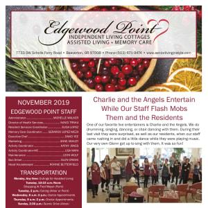 November Edgewood Point Assisted Living newsletter