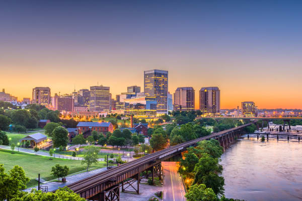 Skyline view of Richmond in Virginia