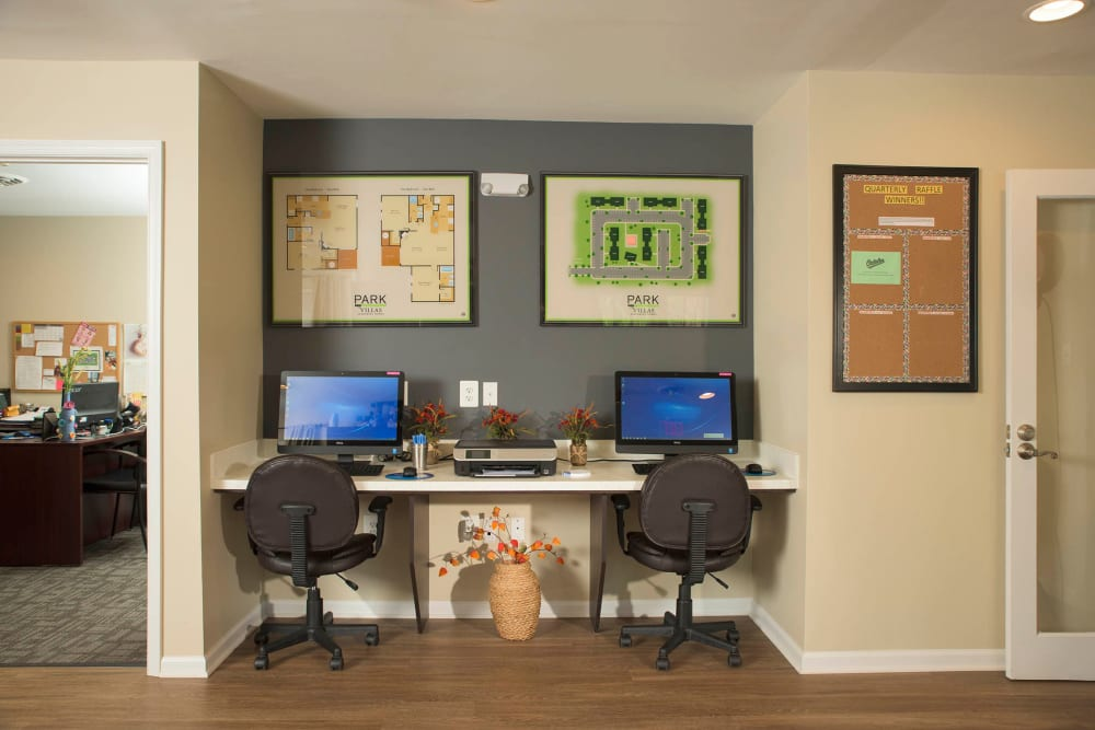 Business center with computers at Park Villas Apartments in Lexington Park, Maryland