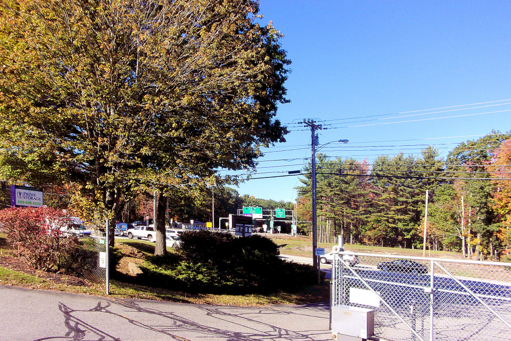 Entrance gate at Prime Storage in Wells, Maine