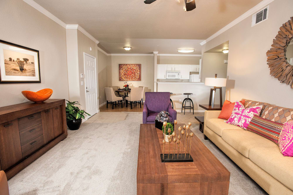 Spacious dining and living room at River Oaks Apartment Homes in Vacaville, California