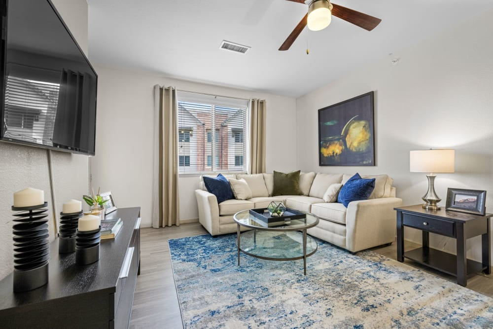 Well decorated living room at The Parc at Greenwood Village in Greenwood Village, Colorado
