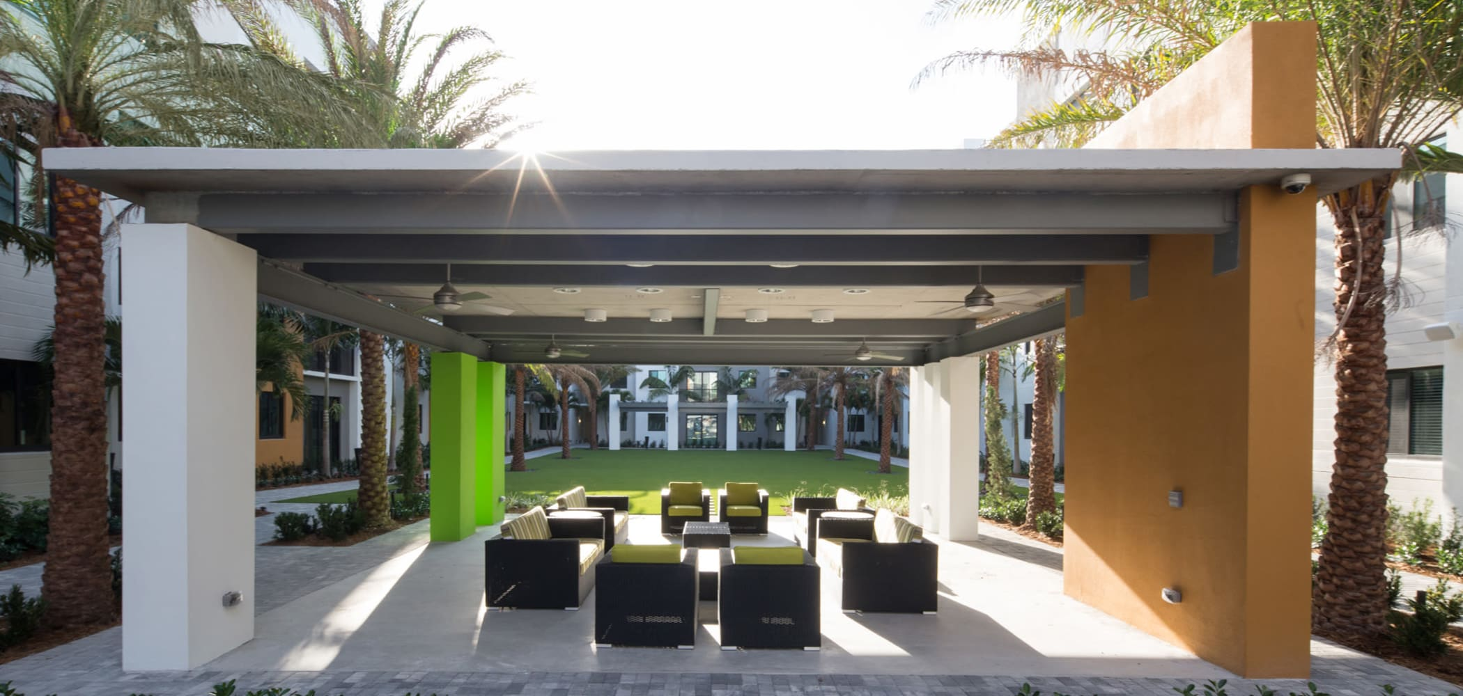 Outdoor covered seating area at University Park in Boca Raton, Florida