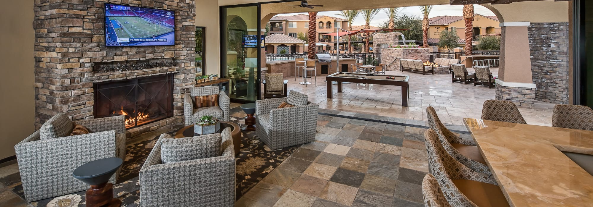 Spacious clubhouse to entertain friends and family at Stone Oaks in Chandler, Arizona