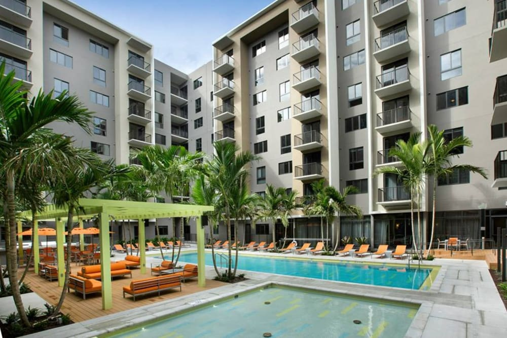 Resort-style swimming pool at Berkshire Coral Gables apartments for rent in Miami, FL