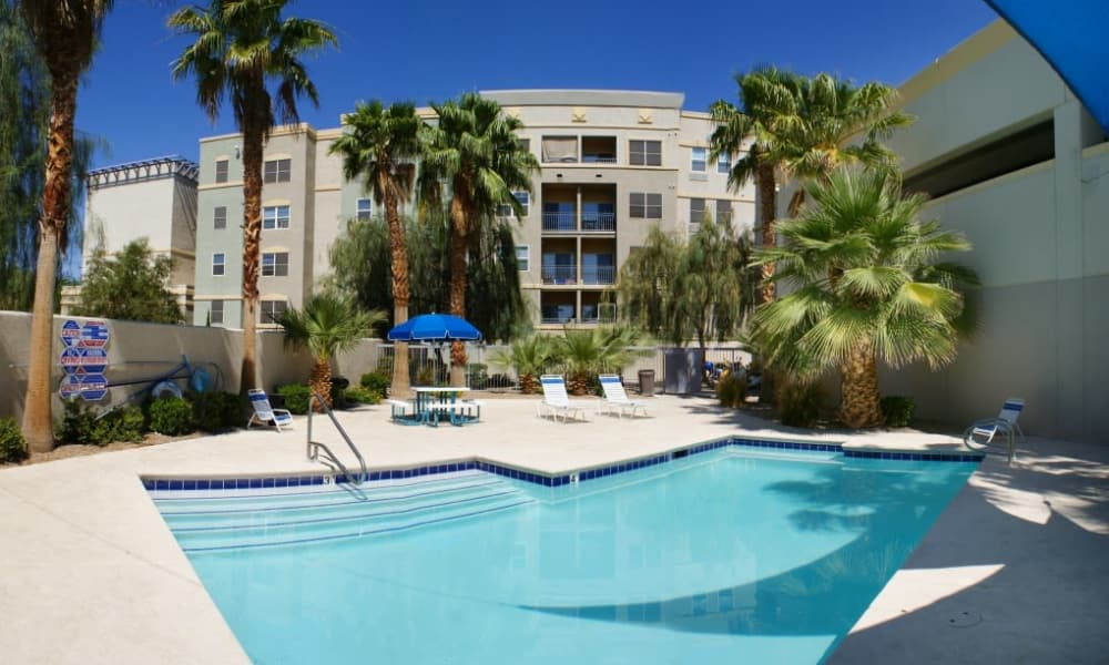 A sparkling pool is just one of the many amenities that City Center Apartments has to offer.