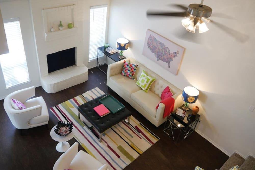 Model living room at The Park at Ashford in Arlington, Texas