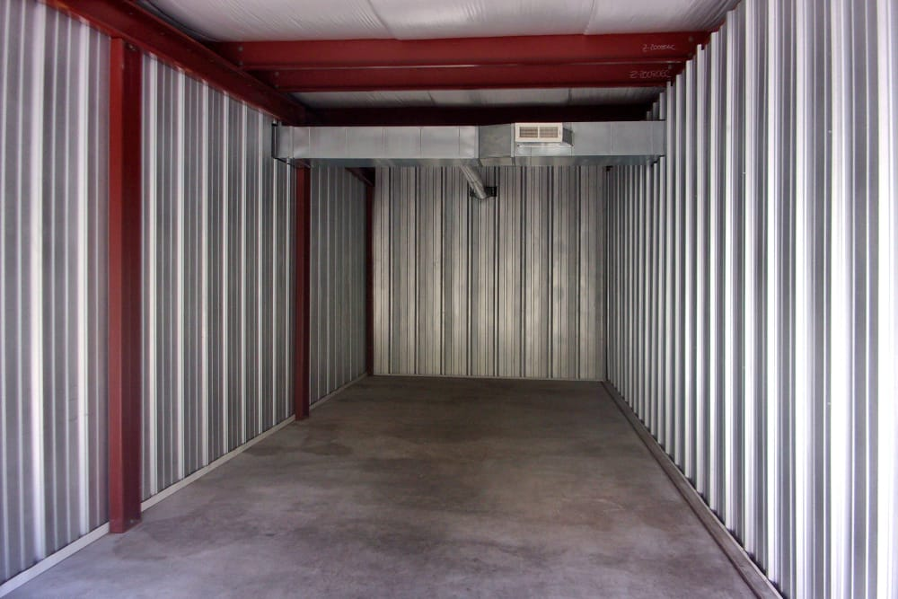 Interior of a storage unit at Prime Storage in Wells, Maine