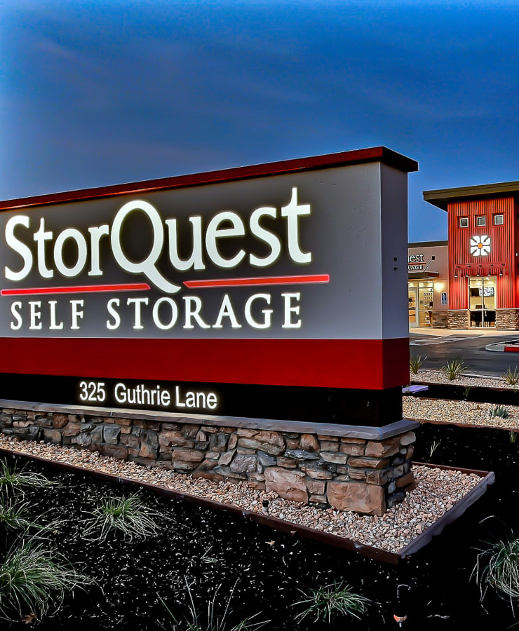 Branding and signage at StorQuest Self Storage in Brentwood, California