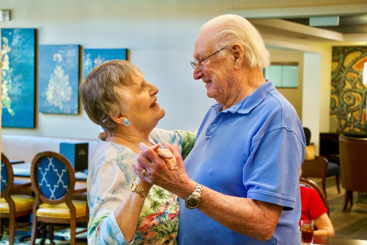 Couple dancing together at Watercrest at Shadow Creek Ranch in Pearland, Texas