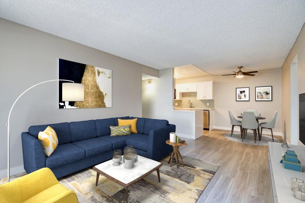 Open Living Room Avana La Jolla Apartments in San Diego, California.