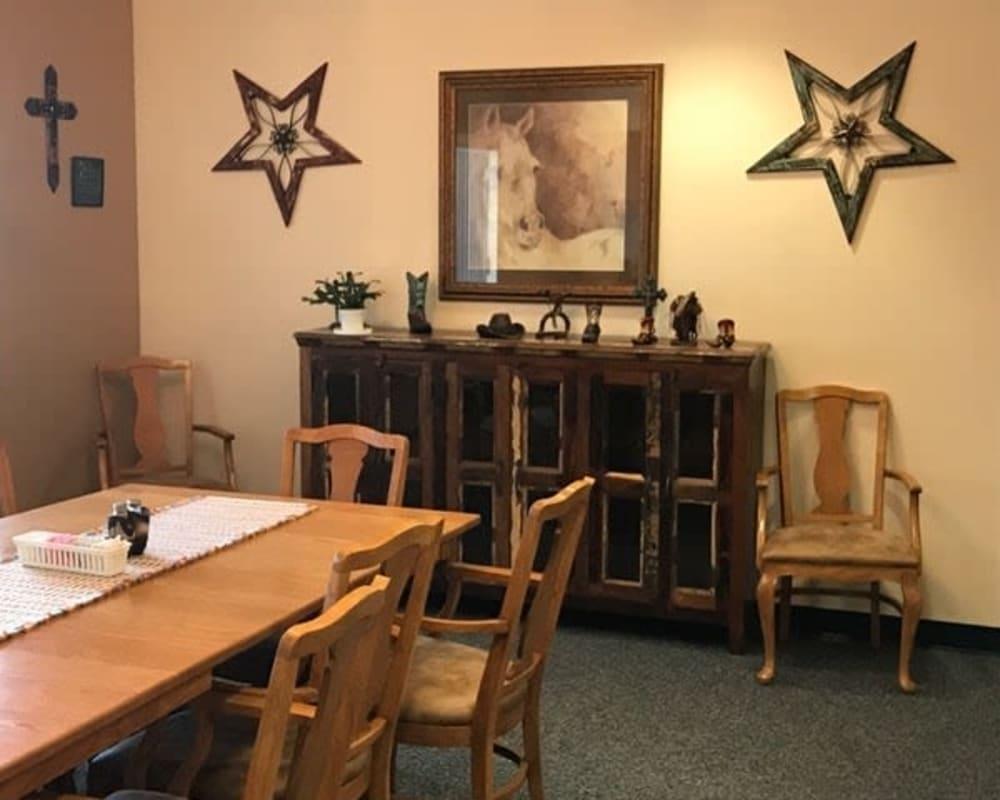 Spacious resident dining room at Lawton Senior Living in Lawton, Iowa.