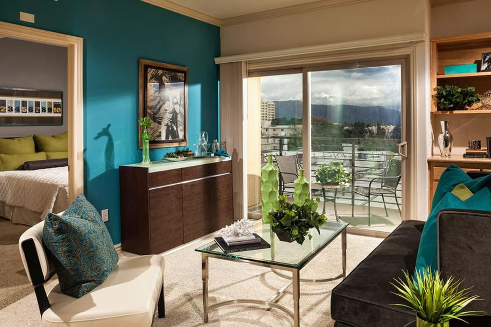 Living Room With Large Window at Avana North Hollywood Apartments in North Hollywood, CA