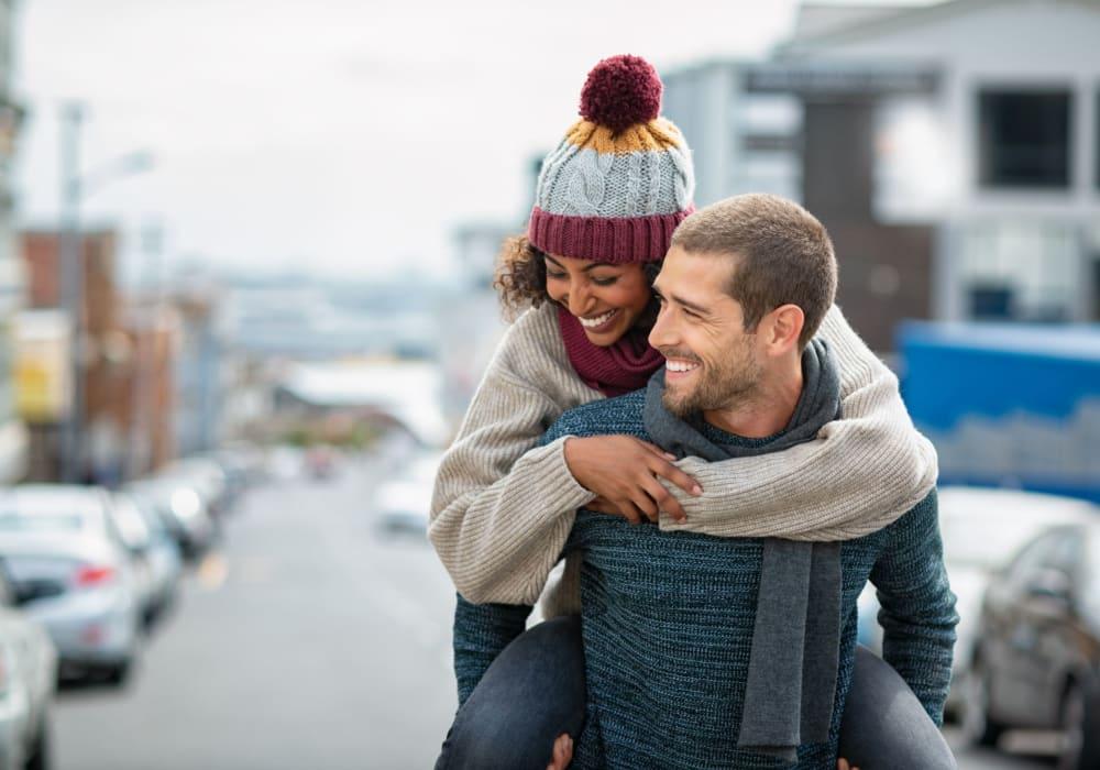 Happy Residents walking near Canterbury Apartments in Bridgeville, Delaware