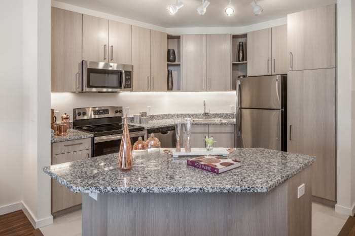 Model kitchen at All Seasons Naples in Naples, Florida