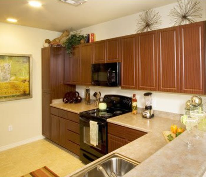 Modern kitchen in model home at Waterford at Peoria in Peoria, Arizona