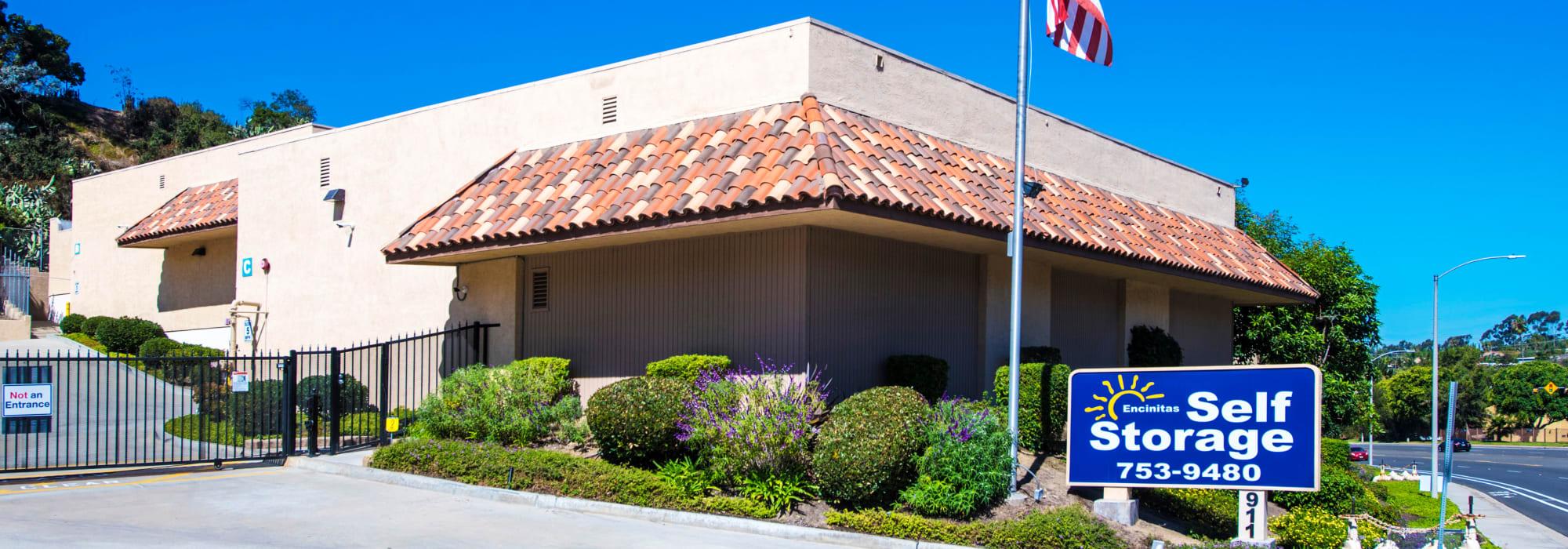 Branding on the exterior of Encinitas Self Storage in Encinitas, California