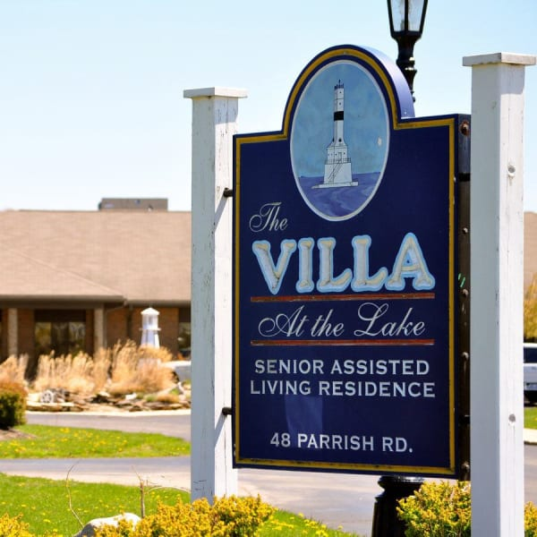 Signage on the lawn outside of Villa at the Lake in Conneaut, Ohio
