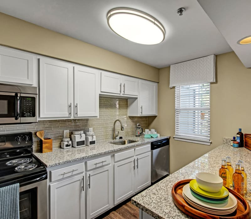 Fully equipped kitchen with granite counters at Exton Crossing in Exton, Pennsylvania