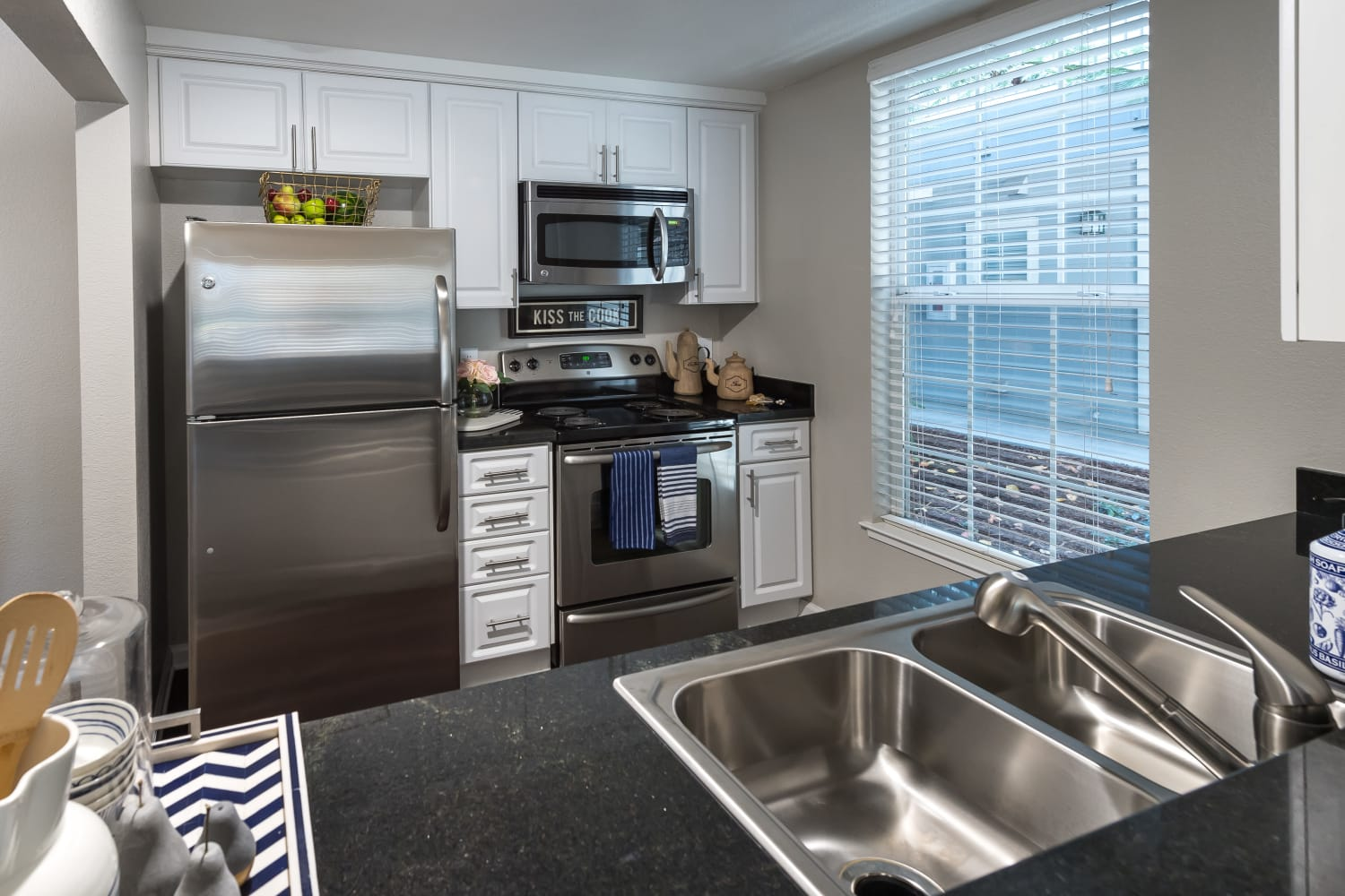 Newly renovated kitchen at Nantucket Apartments in Santa Clara, California