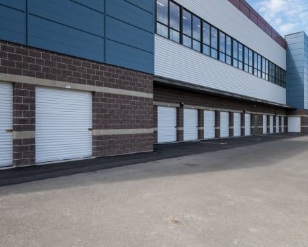 Outside storage units at StorQuest Self Storage in Redmond, Washington.