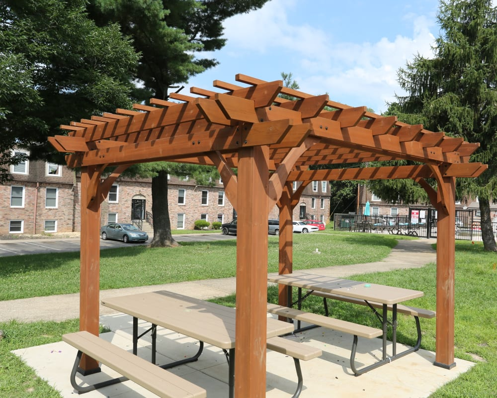 A pergola wiht picnic tables near Reserve at Lindsay in Louisville, Kentucky