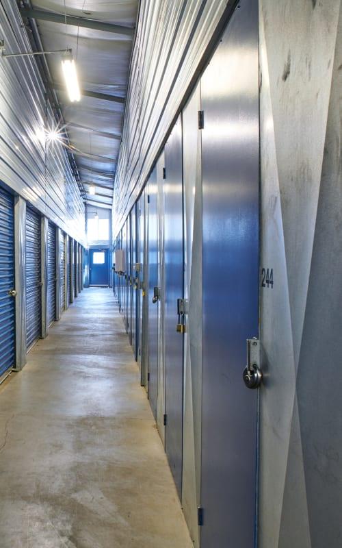 Interior hallway of heated storage at Sherlock Self Storage in Wilsonville, Oregon