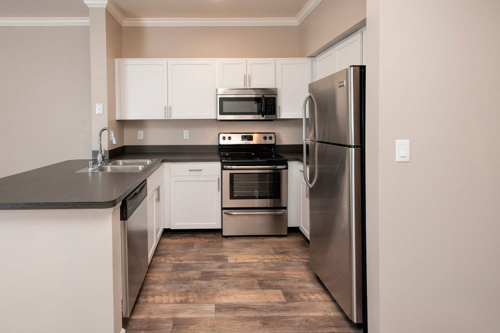 Apartment kitchen at The Vintage at South Meadows Condominium Rentals in Reno, Nevada