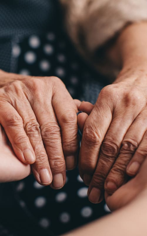 Resident and caretaker holding hands at Jaybird Senior Living