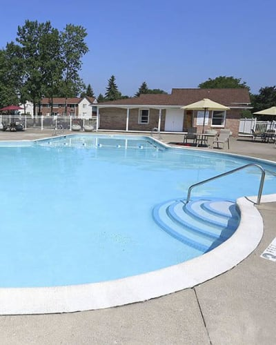Poolside at Highview Manor Apartments in Fairport, NY